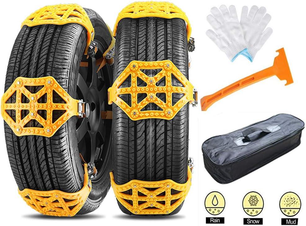 vienen con guantes Cadenas de nieve para autom/óviles 8 pcs Cadenas de nieve para autos antideslizantes universales aptas para 235 mm-285 mm aptas para la mayor/ía de autom/óviles // SUV // camiones