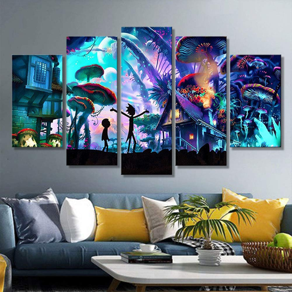 "5D DIY Cartoon Underwater worldUnderwater World Art Diamond Drawing Canvas Home Decoration in 5 Pieces,5 Panels of Splicing Painting Mural (95 X 45cm / 37.4 X 17.72"") (Underwater World, 95 X 45cm)"