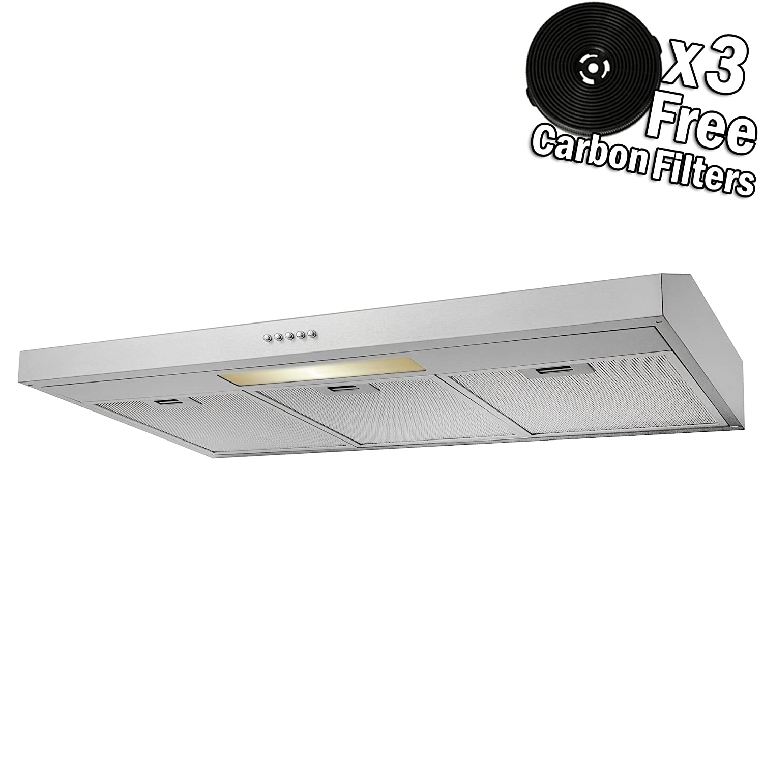 AKDY 36 Under Cabinet Stainless Steel Push Panel Kitchen Range Hood Cooking Fan w/Carbon Filters (36)