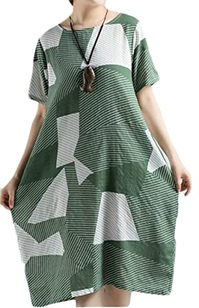 d3632a1dcb Etecredpow Women s Linen Loose Fit Crew Neck Short Sleeve Printed Casual Beach  Dress Green X-