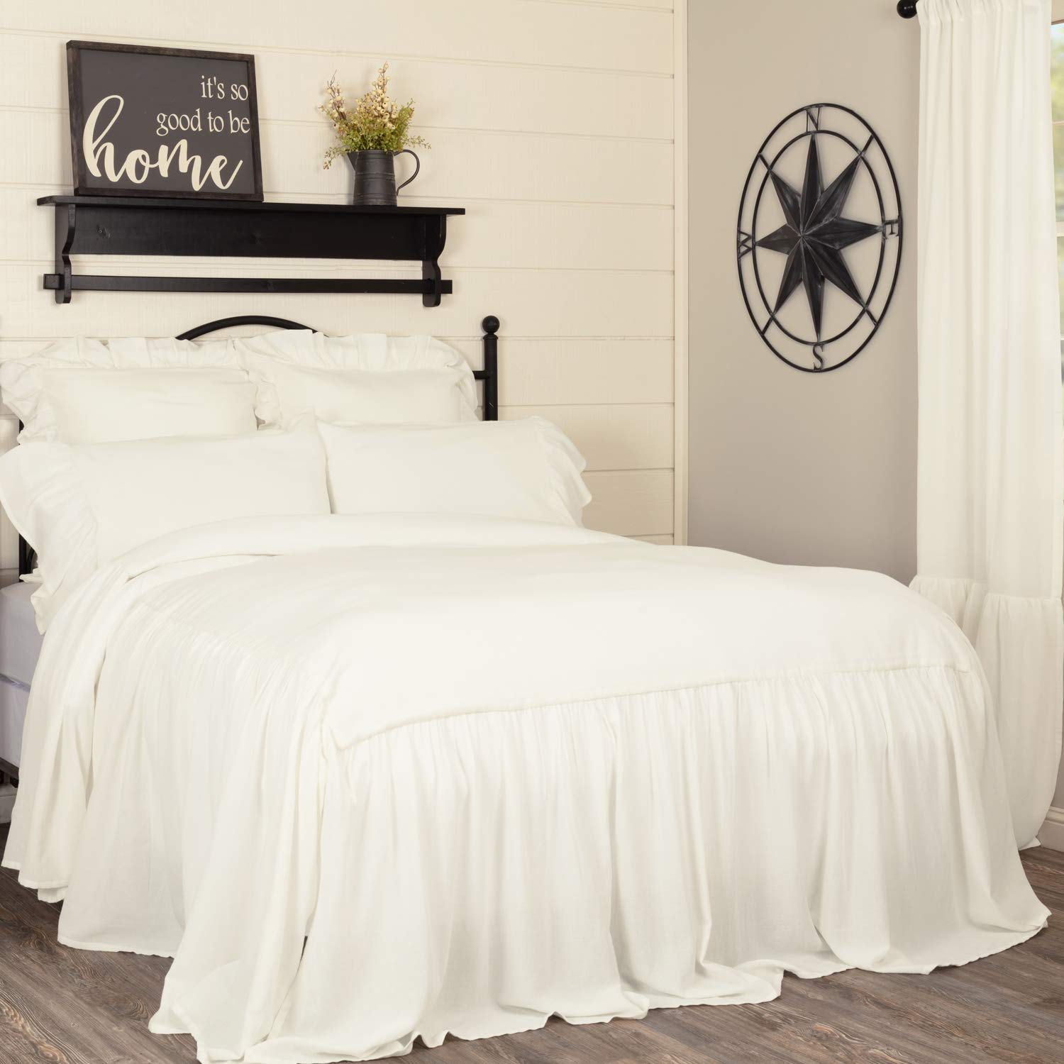 Piper Classics Annabelle Ruffled Bedspread, King Size, Skirted on 3 Sides, Antique Soft White, Lightweight, Farmhouse Style Bedding
