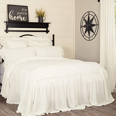 Piper Classics Annabelle Ruffled Bedspread, Queen Size, HIgh Skirt on 3 Sides, Antique Soft White, Lightweight, Farmhouse Style Bedding