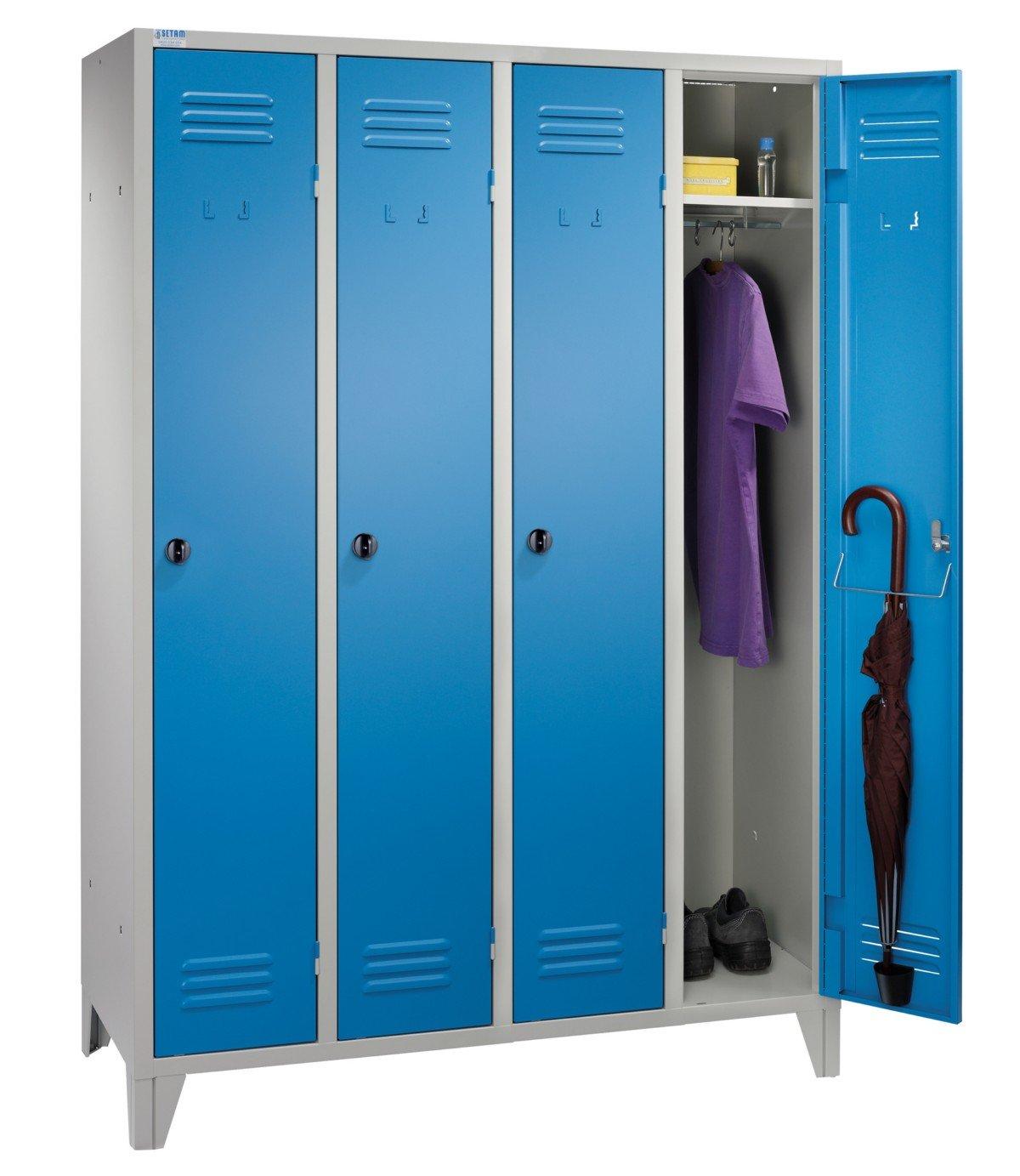 Vestiaire métallique 4 casiers IP coloris Bleu