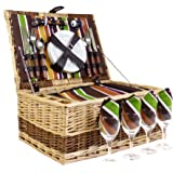 Buckingham 4 Person Luxury Wicker Picnic Basket Set with Built In Chiller Compartment & Accessories - Gift ideas for Valentines, Mothers Day, Birthday, Wedding, Anniversary, Business and Corporate, Mum, Dad, him, her