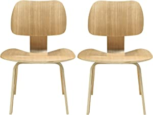 Modway Fathom Plywood 2-Dining Chair Set in Natural