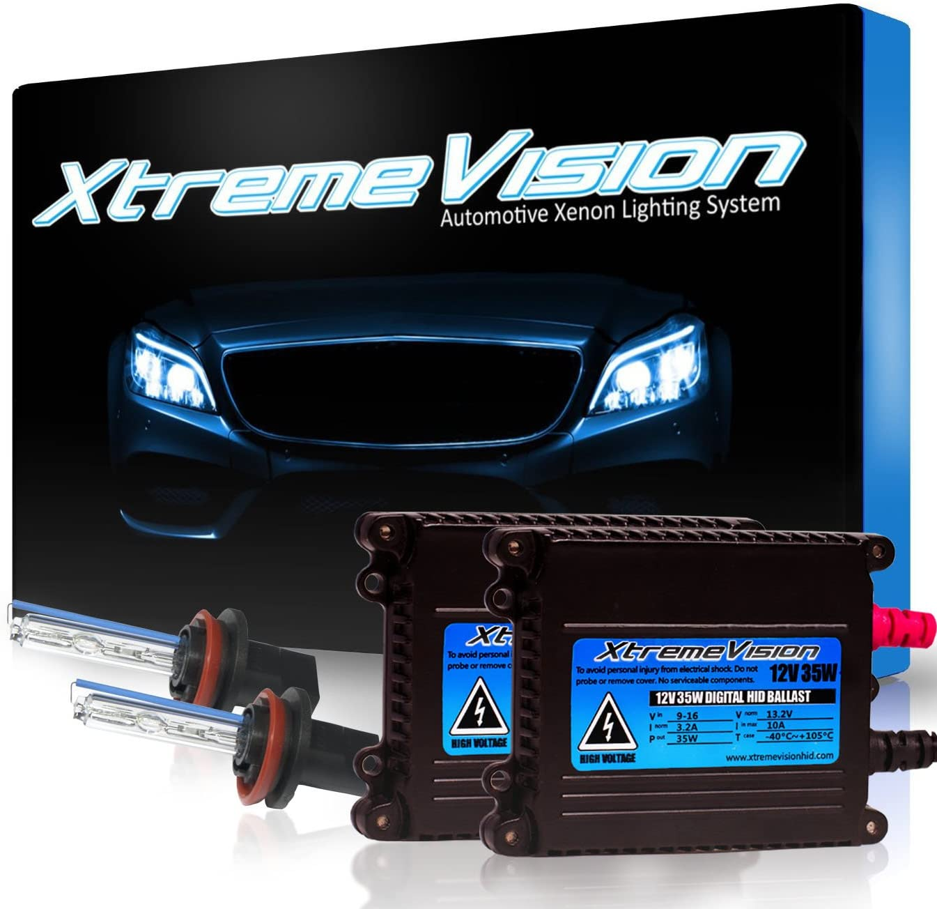 Xtremevision 35W Xenon HID Lights with Premium Slim Ballast - H11 8000K - 8K Medium Blue - 2 Year Warranty