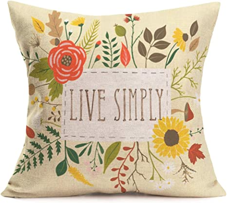 Amazon Com Fukeen Inspirational Quotes Throw Pillow Case Flower Leaves Decorative Cotton Linen Cushion Covers Standard 18 X18 Spring Home Sofa Decor Pillowcases Live Simply Home Kitchen