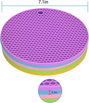 GOP Store Silicone Pot Holders Trivets Spoon Rest Jar Opener Coaster Heat Resistance Thick /& Flexible pad potholders non-slip pad White