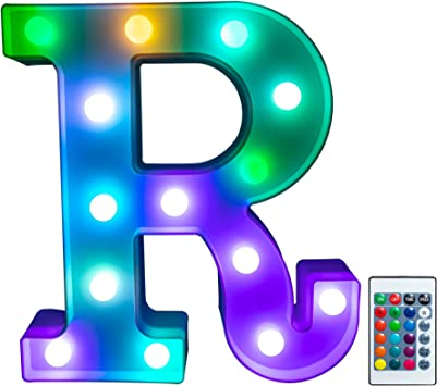 Foaky Colorful LED Letter Lights with Remote, Light Up Letters Sign for Night Light Wedding/Birthday Party Battery Powered Christmas Lamp Home Bar Decoration(R)