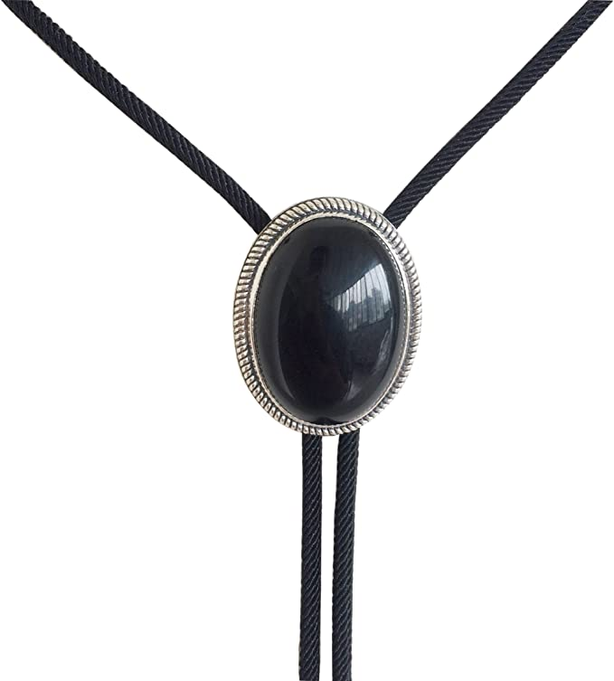Black Obsidian Bolo Tie Real Silver Plated 38 Adjustable Leather Cord