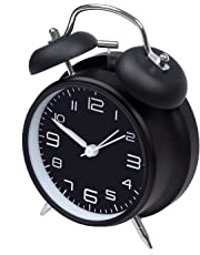 """jiemei 4"""" Twin Bell Alarm Clock Battery Operated, Loud Home Alarm Clock with Stereoscopic Dial, Nightlight, Non Ticking for Bedroom (Black)"""