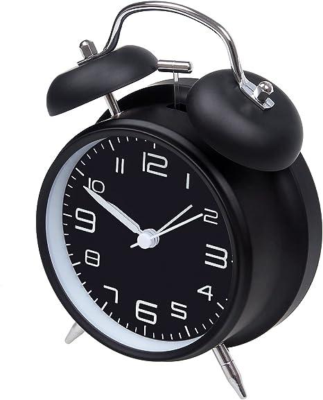 Reloj despertador de doble alarma, de Jiemei, de 10,16 cm,