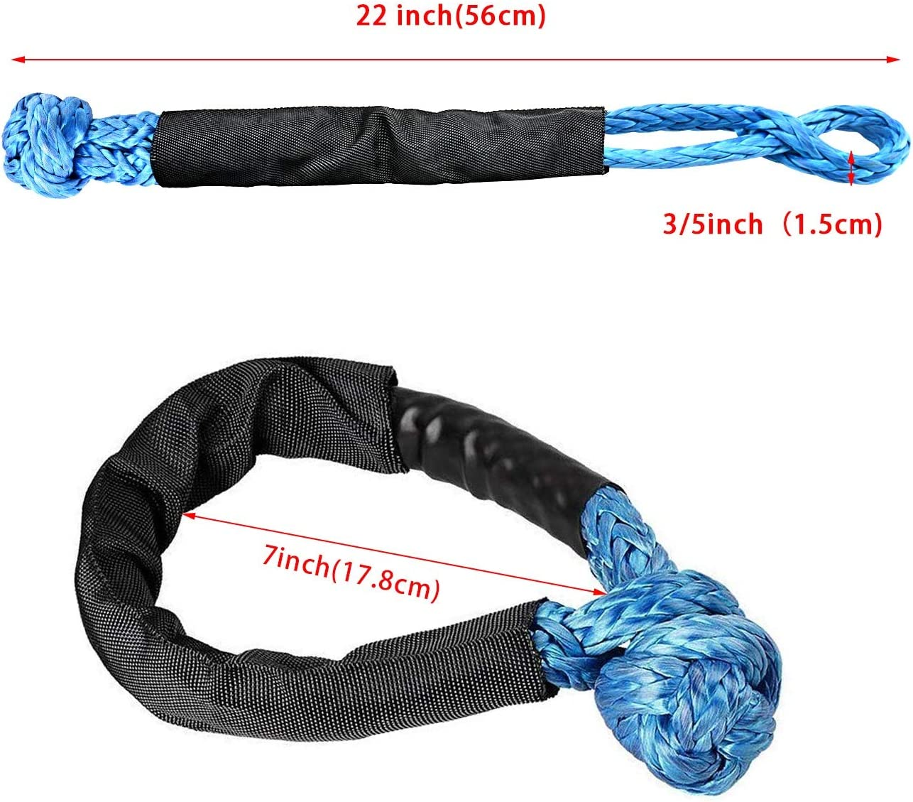 Blue Shackle Recovery Rope with Protective Sleeve for ATV Truck Towing SUV 4X4 Red, 2 Pack Keeboot Synthetic Soft Shackle Blue Rope 1//2 Inch X 22 Inch 38,000lbs Breaking Strength /…