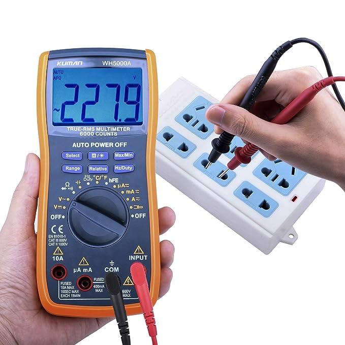 Kuman Multímetro Digital, Verdero RMS 6000 Cuenta Multímetros Oscilación Manual y Automatica, Medidas Voltaje, Corriente, Resistencia, Continuidad, ...