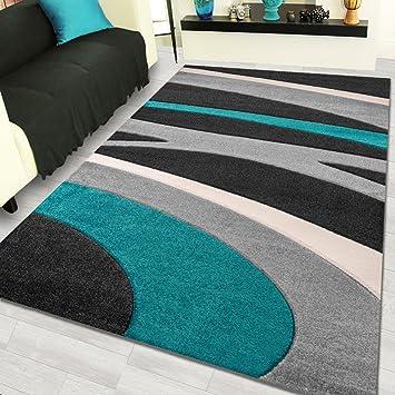 Amazon De Shuja Teppich Moderne Designer Kurzflor Teppiche