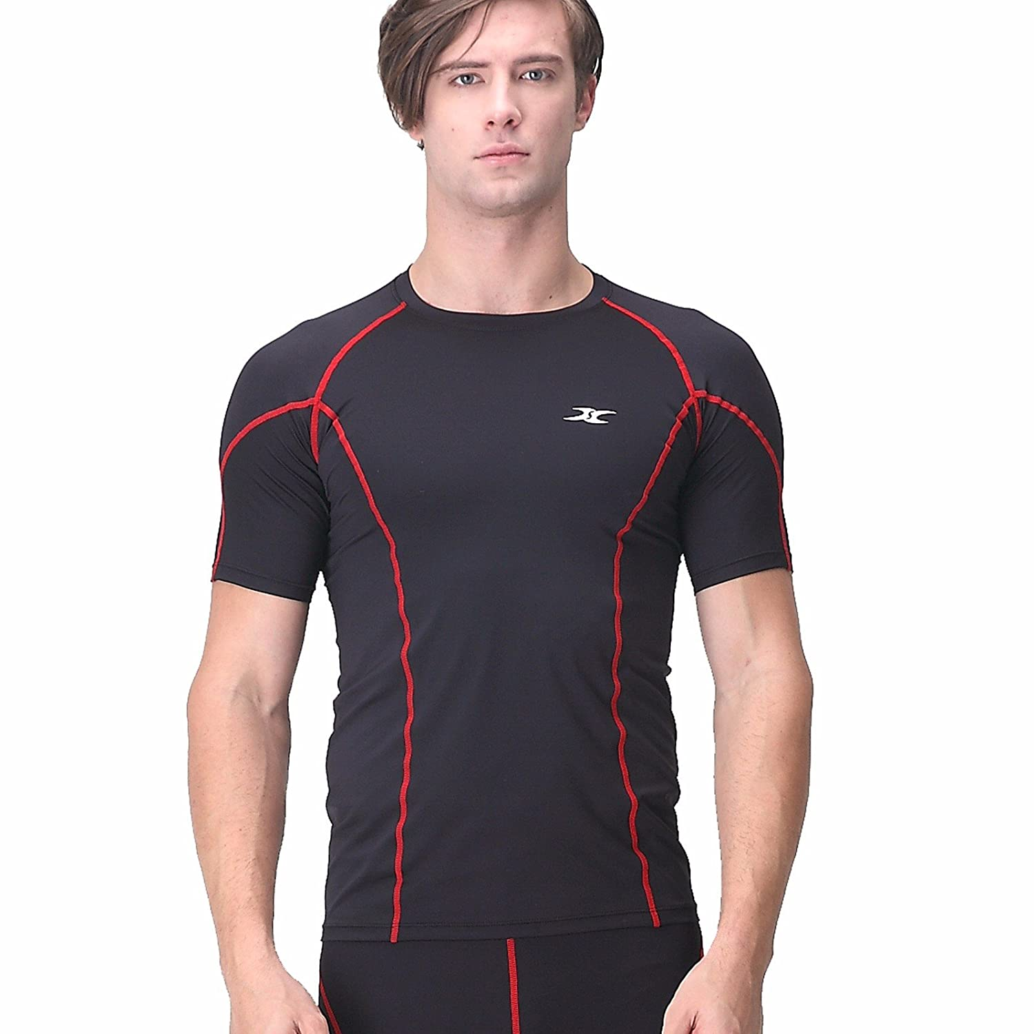 Henri Maurice Compression Shirt Short Sleeve Men Top Base Layer Muscle Line T Shirts SI