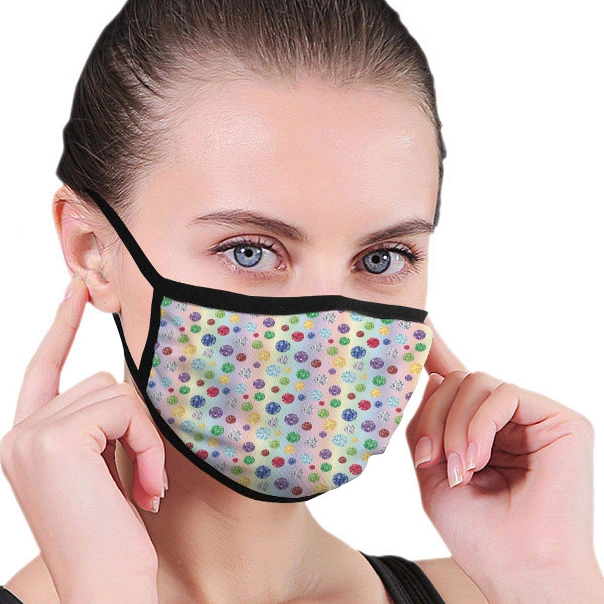 Cómoda máscara a prueba de viento, fondo colorido abstracto con piedras ovaladas, aspecto clásico, decoraciones faciales impresas para mujeres y hombres