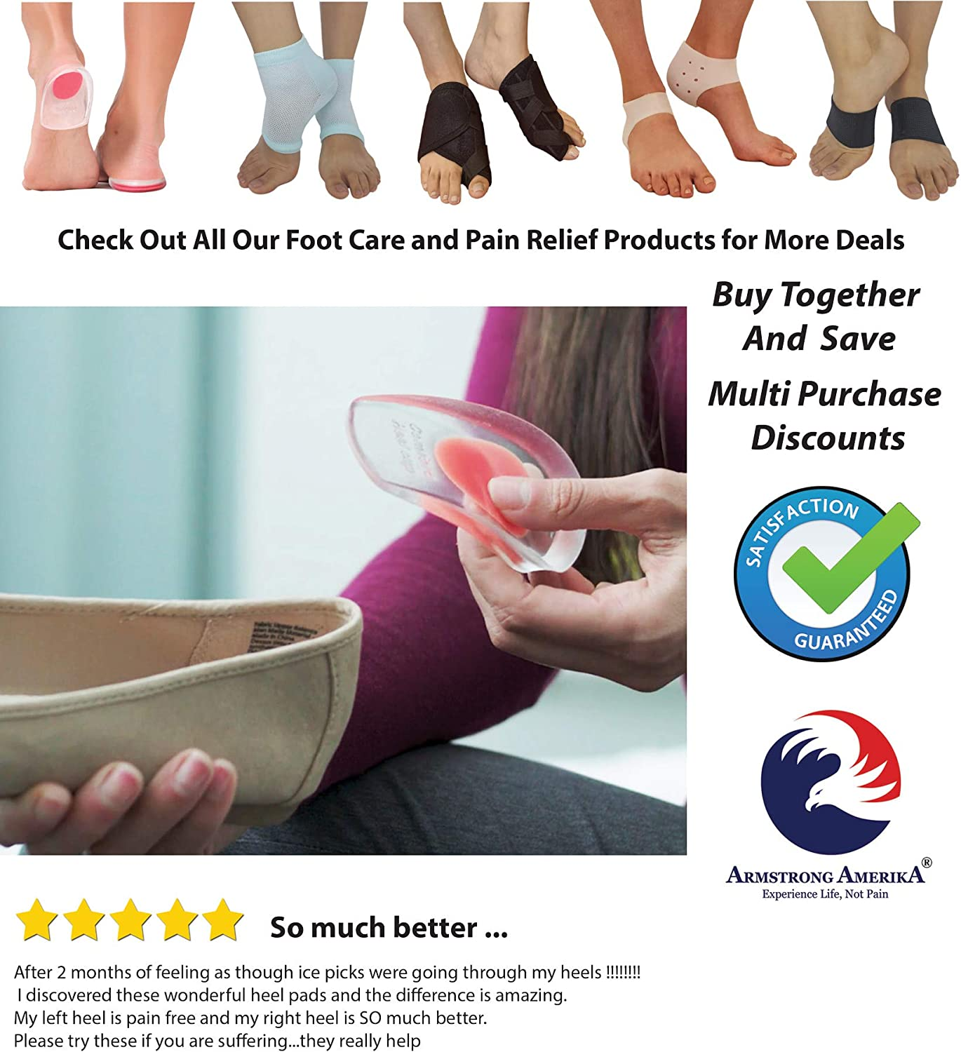 Gel Heel Cups Plantar Fasciitis Inserts - Silicone Heel Cup Pads for Bone Spurs Pain Relief Protectors of Your Sore or Bruised Feet Best Insole Gels Treatment by Armstrong Amerika (Small): Health & Personal Care