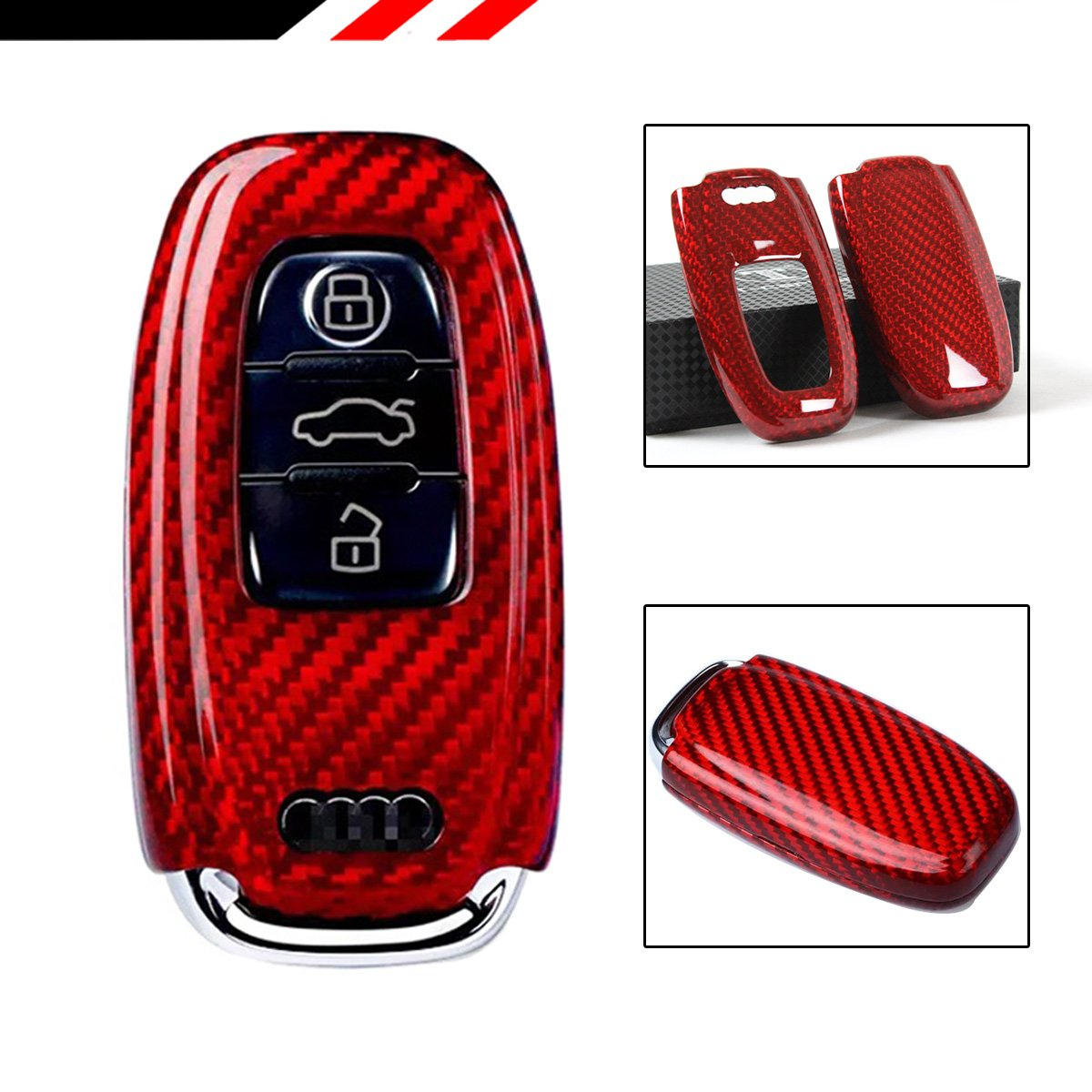 Luxury赤カーボンファイバーSnap On Case For Audi a3 a4 a5 a6 a7 s5 s7 RS TTキーFob B079C7KNVW