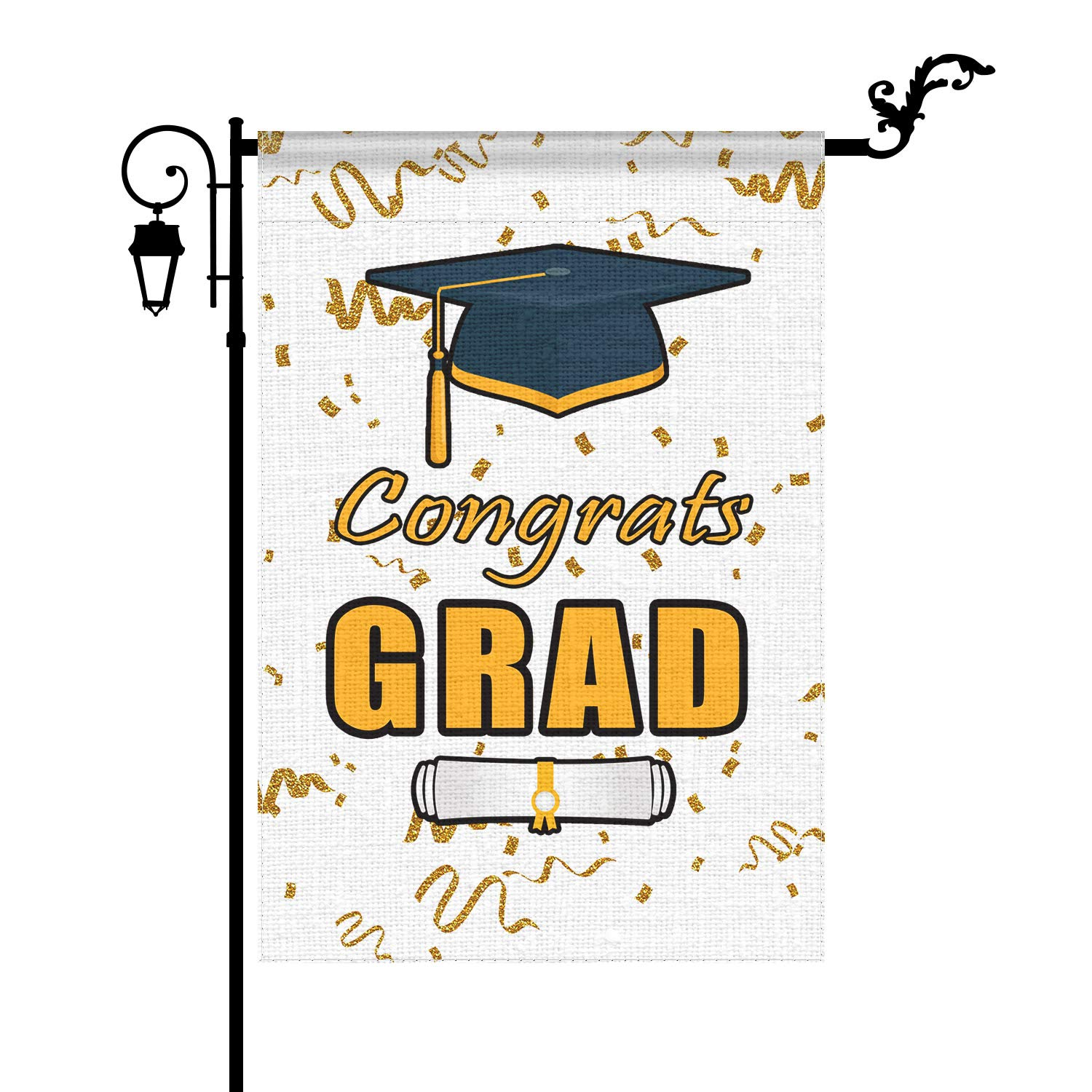 YIWANDA Graduation Garden Flag, Congrats Grad Congratulations Yard Flags 12.5x18 inch Double Sided, Burlap Celebrate Class of 2021 Diploma Cap Vertical Signs Banners Gifts Outdoor Decorations Decor