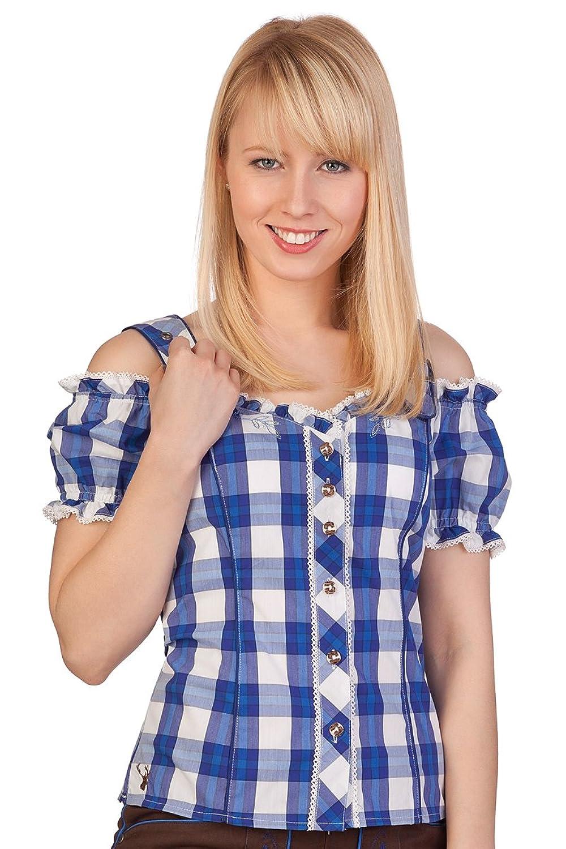 Trachten Bluse im Carmenstil - RAMMINGEN - pink, blau
