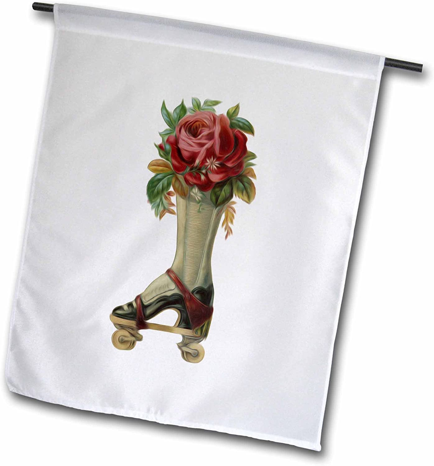 3dRose fl_104671_1 Vintage Steampunk Victorian Lady Boot Roller Skate with Red Rose Bouquet Garden Flag, 12 by 18-Inch