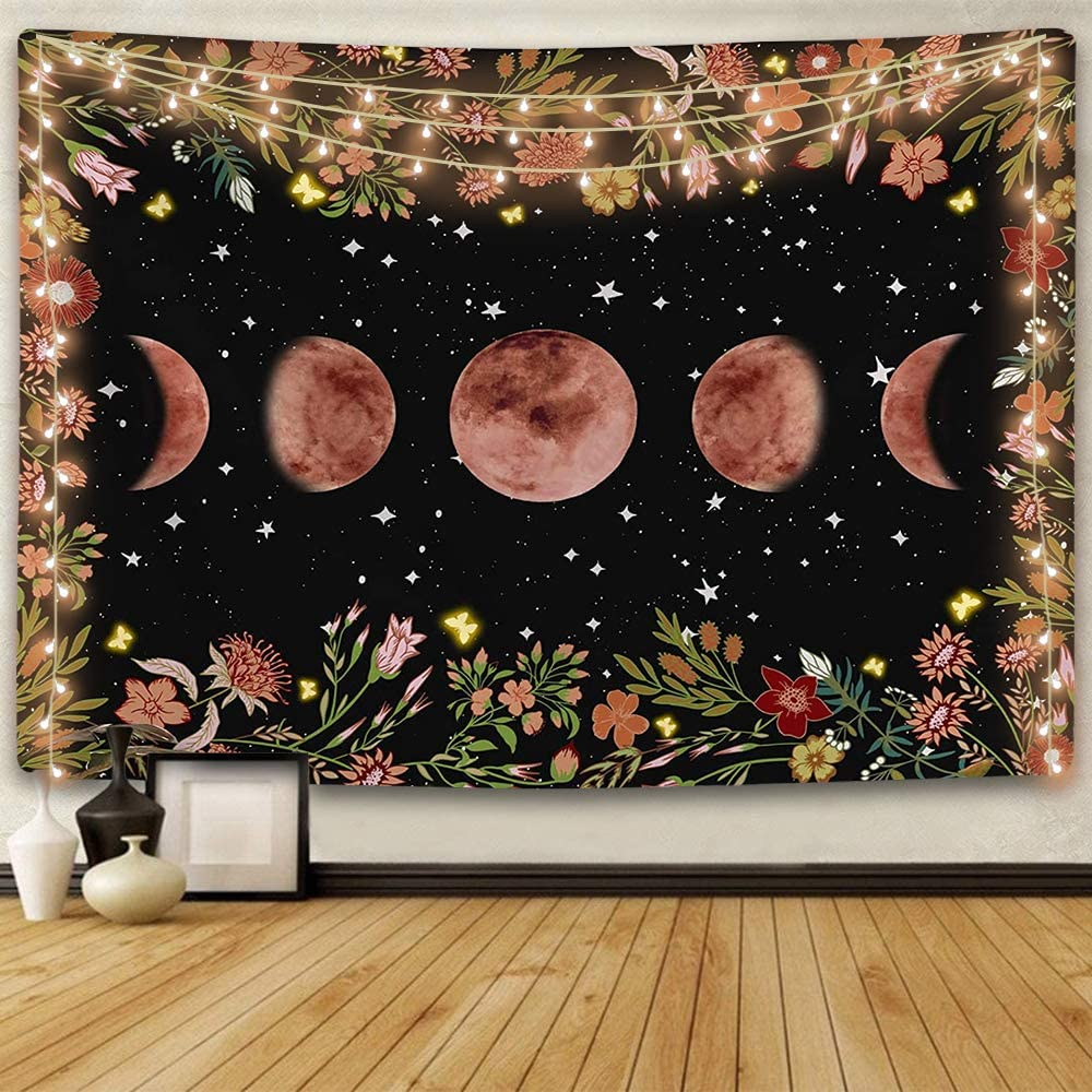ENJOHOS Moonlit Garden Tapestry Moon Phase Surrounded by Vines and Flowers Black Background Wall Art Hanging for Girls Bedroom Living Room Dorm Decor(79x59 inches)