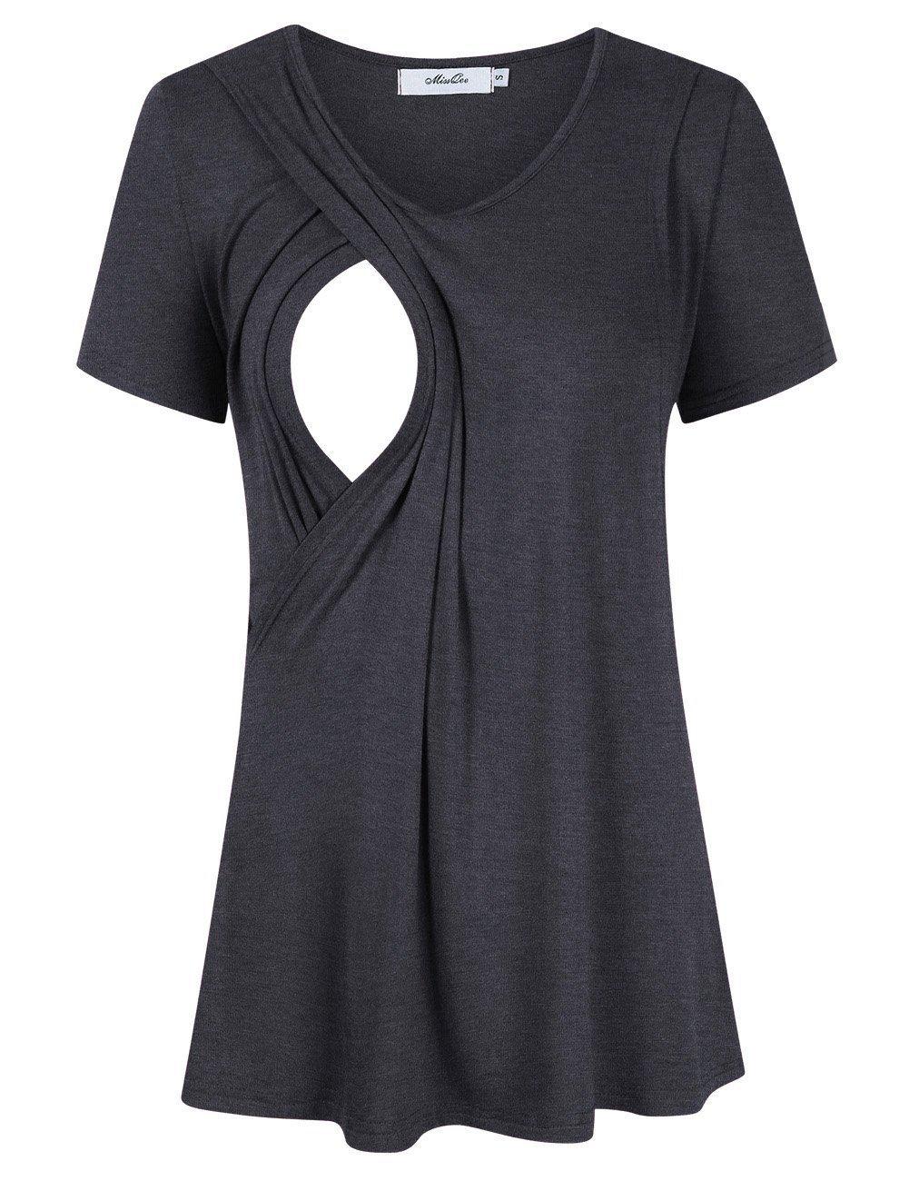 MissQee Maternity Nursing Tops Short Sleeve Breastfeeding T-Shirts L Dark Gray