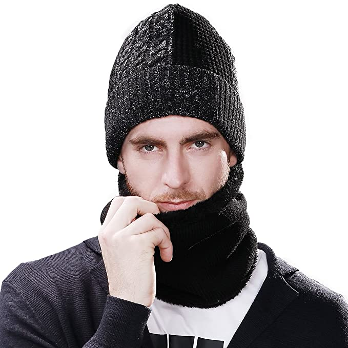 82f32be26c5 Jeff   Aimy 2 Piece Wool Knit Hat   Scarf Sets Black Beanie with Neck  Gaiters