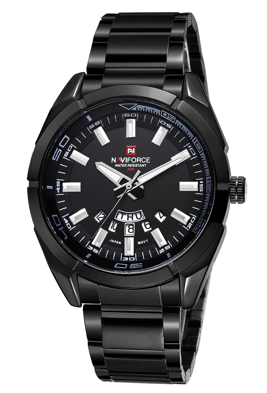 NAVIFORCEメンズスポーツミリタリーオート日付ステンレススチールアナログ腕時計 (Black) B07259VFNW ブラック ブラック