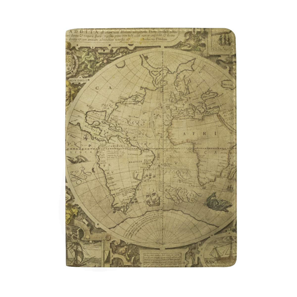 Old Vintage World Map Leather Passport Holder Cover Case Protector for Men Women Travel with Slots