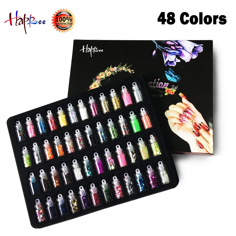 Happlee 3D Nail Art Decoration Set Mini Bottles Nail Glitter Powder, Colored Nail Art Supplies Sequin Rhinestones Decoration, for Scrapbooking, Face, Nail, Eye, DIY Craft, Drawing (48 Bottles)