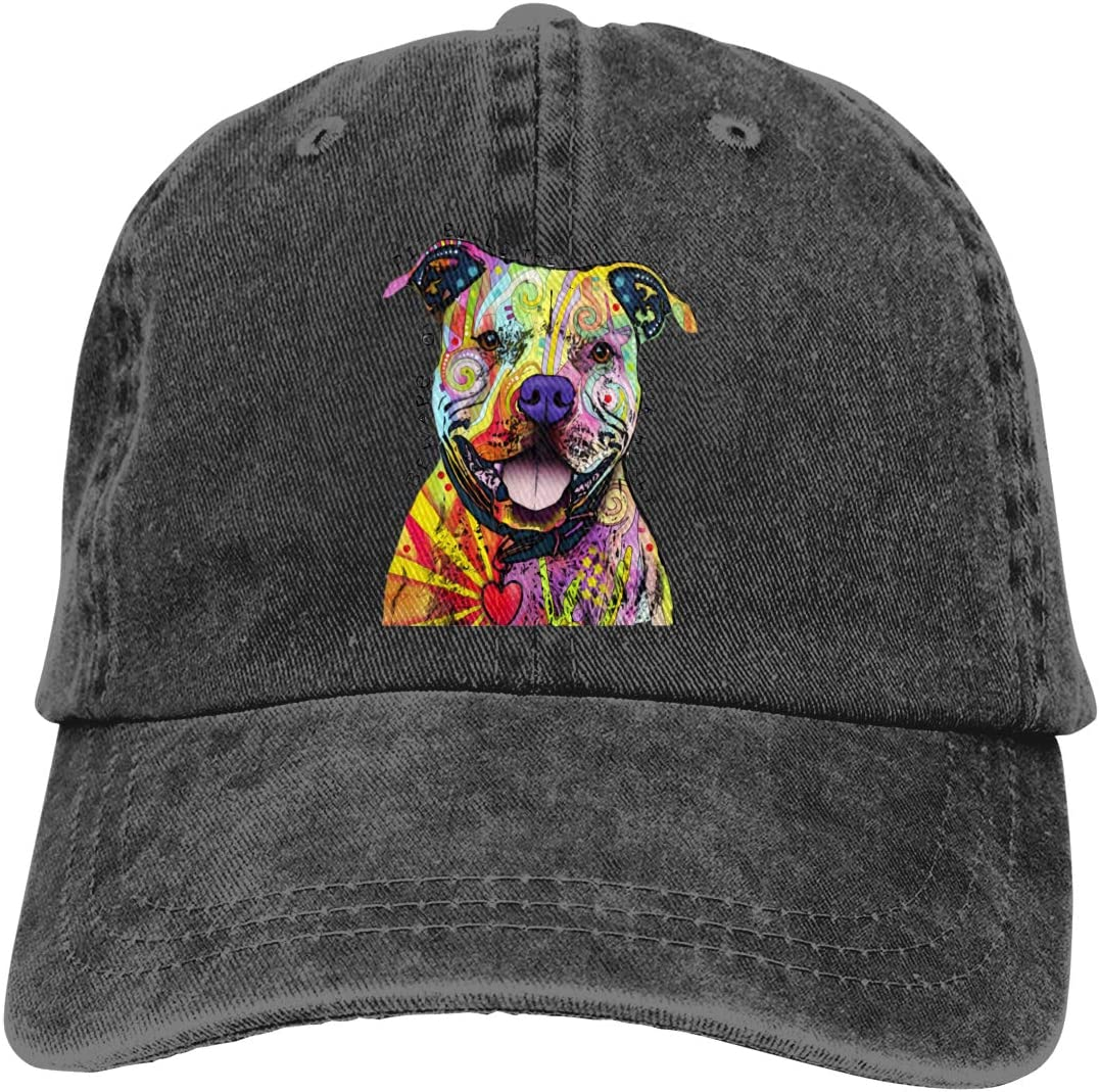Watercolor Pit Bull Splash Art Boys Funny Baseball Cap Vintage Washed Adjustable Dad Hat for Kid
