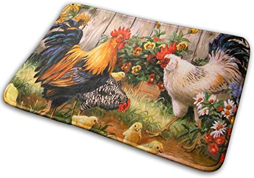 17 7 X 47 2 Sunflower Rooster Kitchen Mat Waterproof Rugs Cushioned Chef Soft Non Slip Rubber