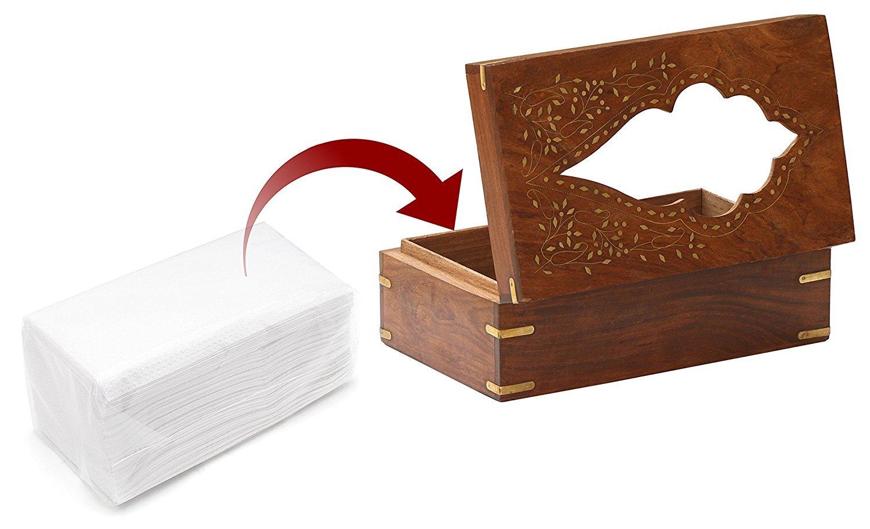 IndiaBigShop Handmade Wooden Rectangle Vintage Tissue Box Decorative Tissue Holder with Brass Inlay 10 X 6 Inch