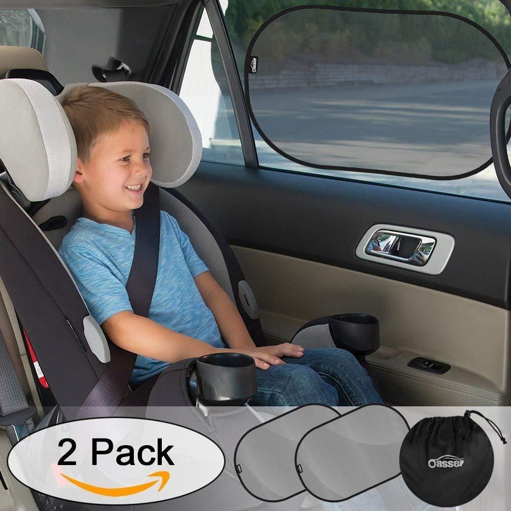 Oasser Parasole Auto Bambini 2pcs, Tendina Laterale per Auto Cling Statico Protezione Raggi UV Retrattile con Custodia - Misura XL (50 x 36 cm)