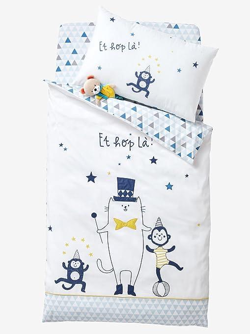 VERTBAUDET Funda de almohada para bebé Circus Blanco/Azul 41 ...