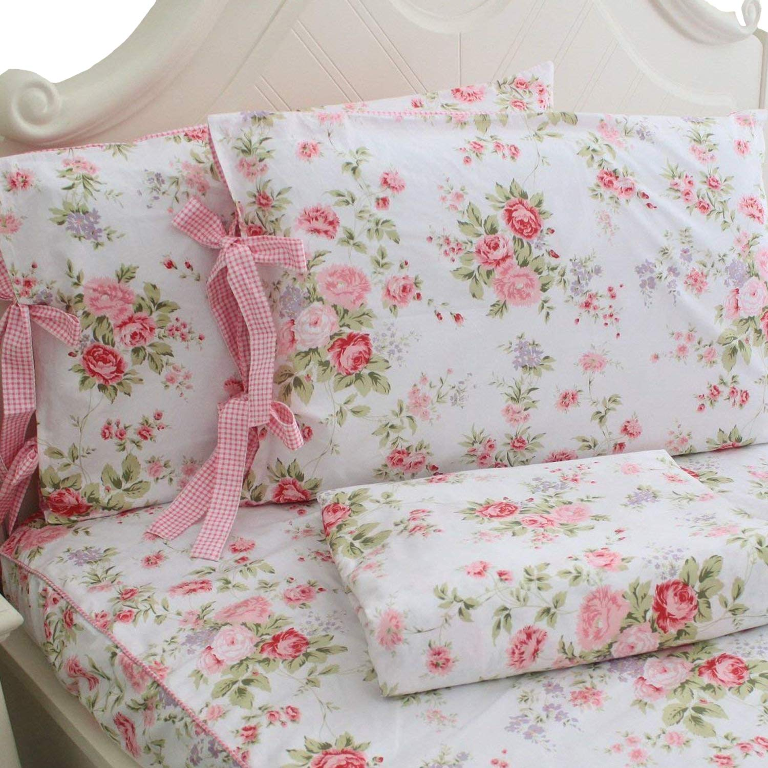 FADFAY Cotton Bed Sheets Set Shabby Rose Floral Print Sheet Bedding 4-Piece Twin Extra Long Size