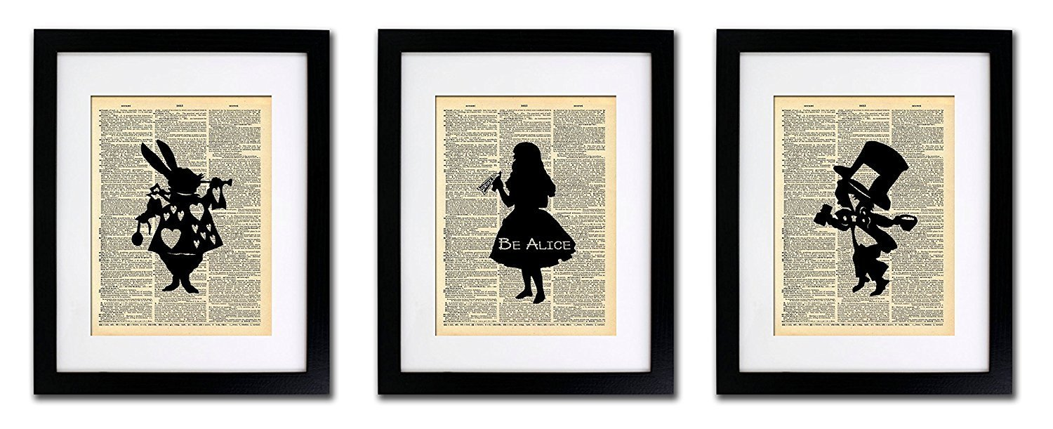 Alice in Wonderland Art Tea Party - 3 Print Set - Vintage Dictionary Print 8x10 Home Vintage Art Abstract Prints Wall Art for Home Decor Wall Decorations For Living Room Bedroom Office Ready-to-Frame 3