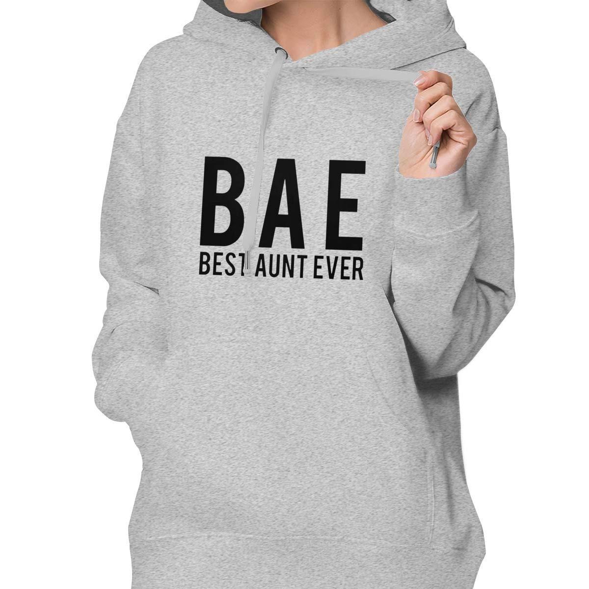 Lponvx Bae Best Aunt Ever Logo Womens Basic Long Sleeve Pullover Hoodie Sweatshirt with Drawstring Hood