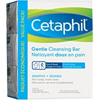 Cetaphil Gentle Cleansing Bar (3-Pack), 127g - Hydrating Foaming Face and Body Wash - For Sensitive Skin - Soap Free…