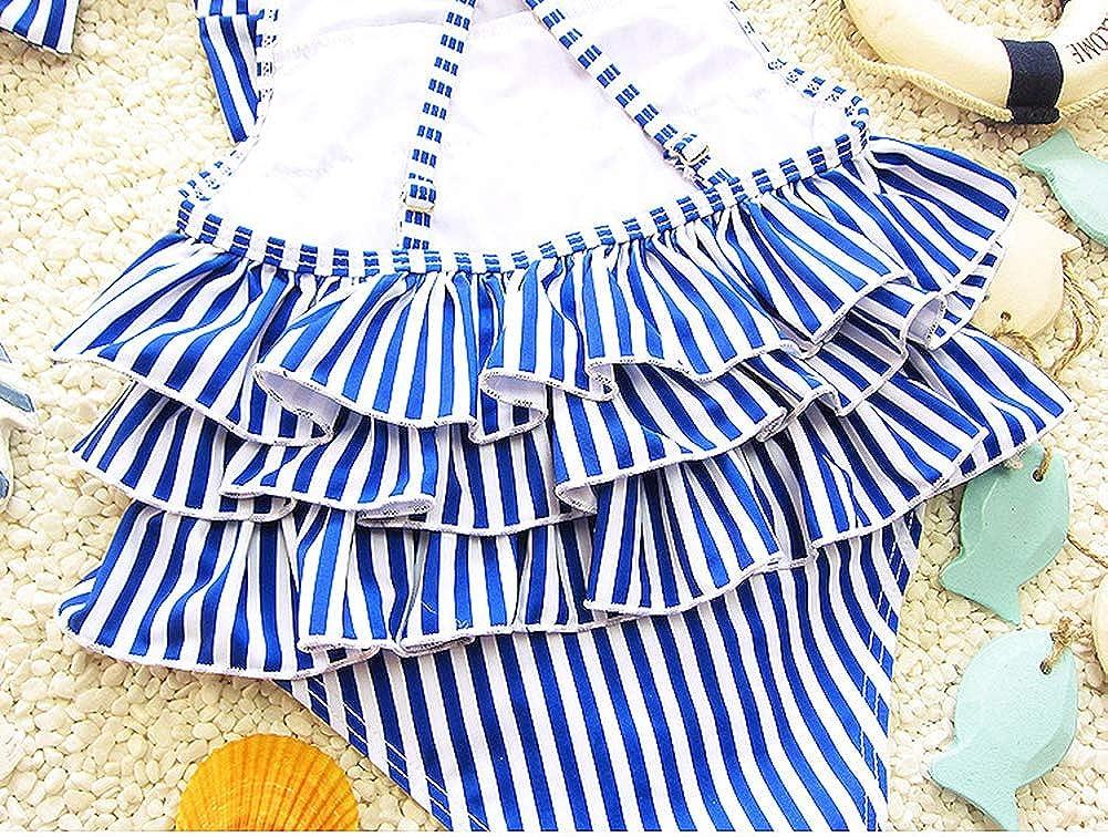 RongCun Baby//Toddler Girl Swimsuit Summer One Piece Stripe Bikini Ruffle Swimwear Bathing Suit with Headband