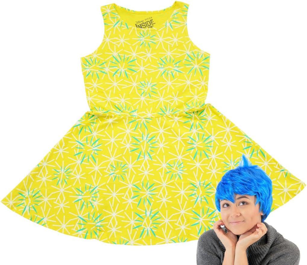 Inside Out Disney Joy Skater Vestido y Peluca Disfraz de: Amazon ...
