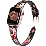 Moolia Floral Band Compatible with Apple Watch Band 42mm 44mm Women, Leather iWatch Band Strap Wristband Accessories…