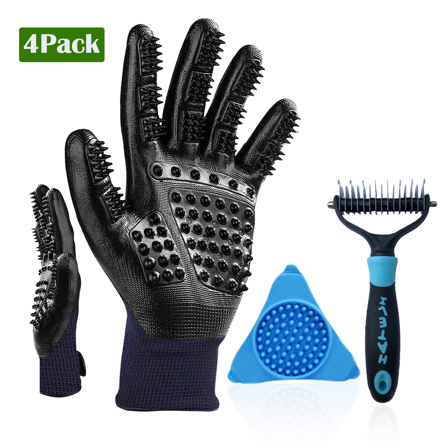 HBPET Pet Grooming Tool Bath-Pet Deshedding Grooming Gloves & Dog Bowl Slow Feeder Lick Wall Mount & Dematting Comb 2 Sided Included Dogs Cats