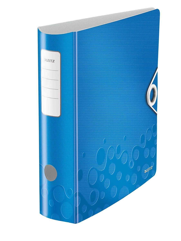 Leitz, Archivador de Palanca, Azul Metalizado, A4, Lomo curvado de 7,5 cm ancho, Cierre con Goma elástica, Polyfoam Ligero, Active WOW, 11060036: Amazon.es: ...