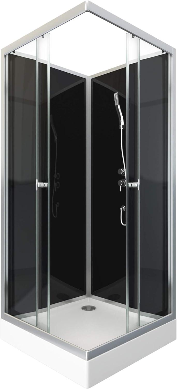 SQUARY Black 2 Aurlane Cabine de Douche carr/ée 80x80x210cm