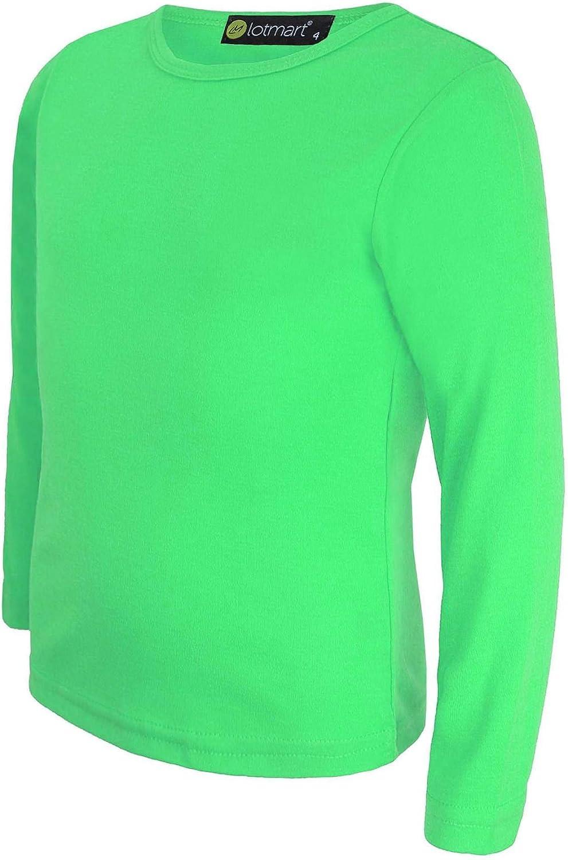 LOTMART Llanura De Niños Top Básico Manga Larga niña Camiseta NIÑO Redondo Uniforme Camiseta y Gratis Regalo Promocional Pluma con Cada Paquete - Verde, 7-8 Años