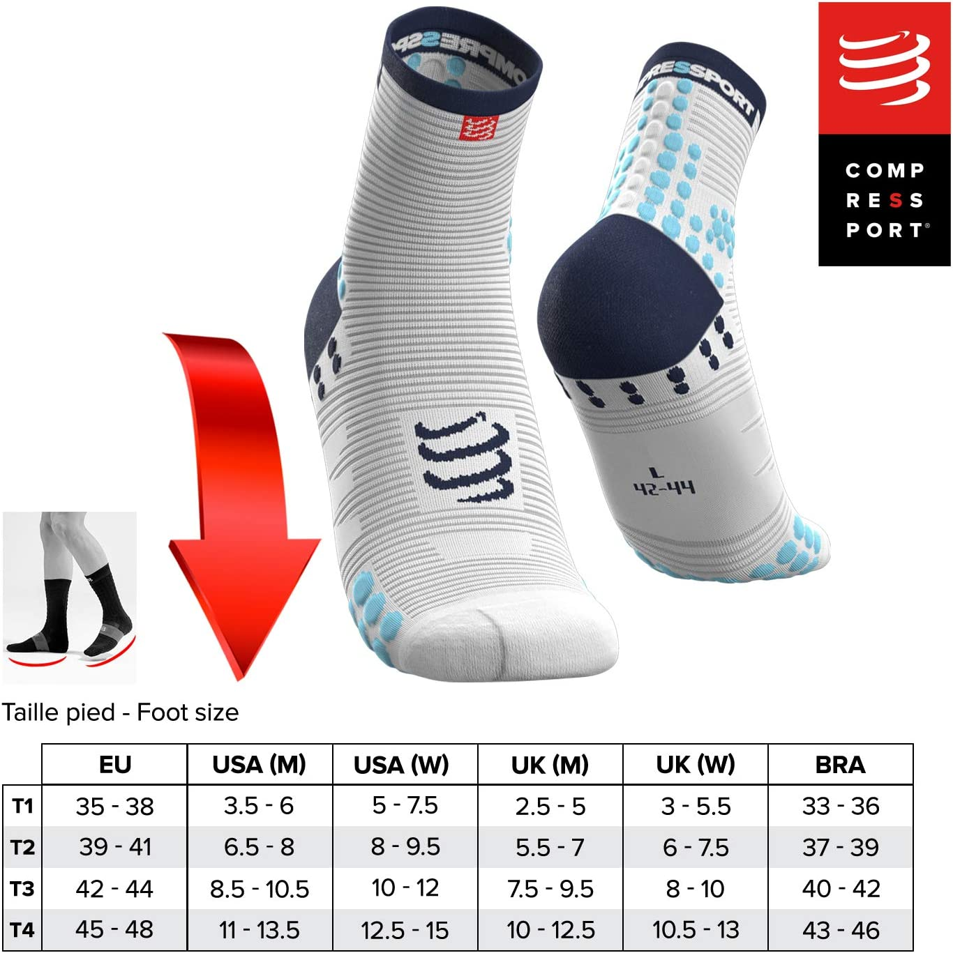 T4 Blanco//Azul COMPRESSPORT Pro Racing Socks v3.0 Run High Calcetines para Correr Unisex-Adult