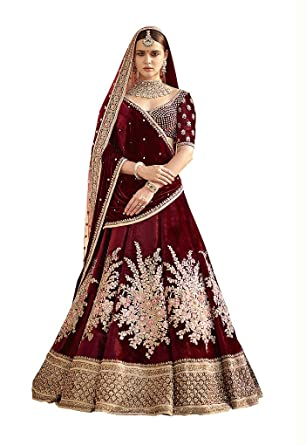 85457f27e0 Jheel Fashion Velvet Lehenga Choli (JFSM-S816_Red_Free Size ): Amazon.in:  Clothing & Accessories